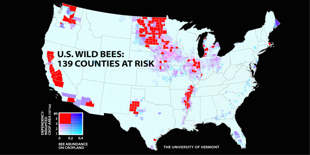 "A new analysis in PNAS finds that 139 U.S. counties are at risk of a ""pollinator mismatch"" between the abundance of wild pollinators and the acreage of pollinator-dependent fruit, nut, and vegetable crops."
