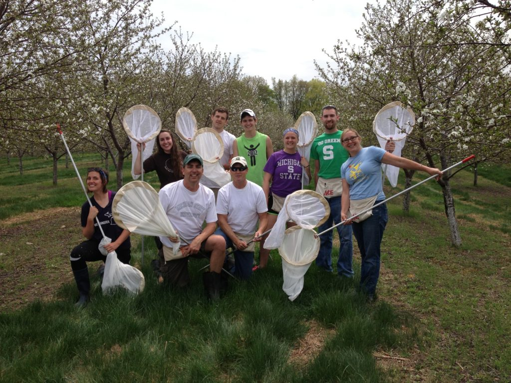 Nikki Rothwell (at right) with Project ICP Michigan cherry researchers and field assistants in spring 2015. Photo: Karen Powers.